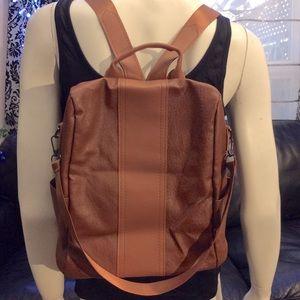 NWOT brown vegan leather versatile backpack